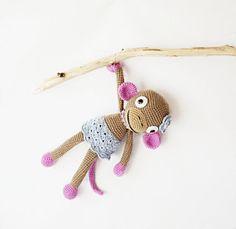 Crocheted toy Crocheted beige monkey by DesireKnitAndCrochet, $55.90