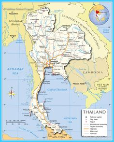 Map of israel and surrounding countries political map of israel map of thailand location and country map of thailand travel guide and online tourist information including beaches attractions maps hotels gumiabroncs Gallery