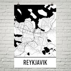 Reykjavik Map Art Print, Reykjavik Iceland Art Poster, Reykjavik Wall Art, Reykjavik Gift, Map of Reykjavik, Reykjavik Print, Birthday, Art