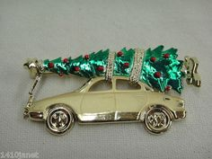 """Bringing Home the Christmas Tree on Gold Car Brooch 3"""" Decorated Unsigned As Is"""