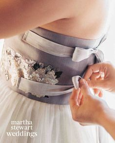 The Walking Dead's Steven Yeun and Joana Pak's California Wedding | Martha Stewart Weddings - Ribbons are a classic hanbok feature.