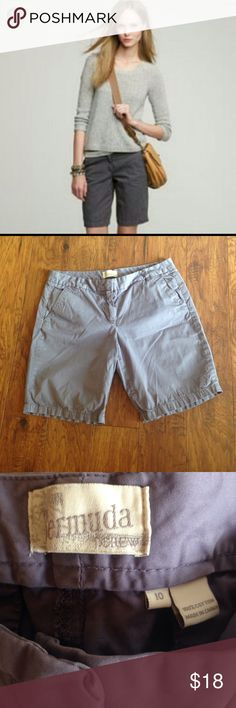 J.Crew Light Gray Bermuda Chino Shorts Size 10 •J.Crew Bermuda Chino Shorts.                  •Womens Size 10.                                           •Classic Chino-100% Cotton with side pockets and back flat pockets.                    •Hits by the knees.                                       •Light Gray Color-Great Condition-no stains or tears.                                          •Super cute and comfy!  Great for summer with sandals or fall with booties! J. Crew Shorts Bermudas