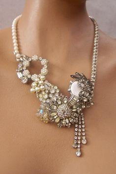 Vintage Jewelry Statement Necklace-Love design  concept