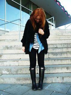 Striped shirt + chambray top + black coat + black skinnies + black Hunters