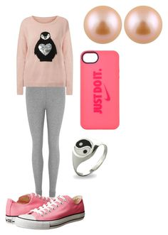 """pink penguin"" by aklawrit ❤ liked on Polyvore featuring Eberjey, Brave Soul, Converse, NIKE and Splendid Pearls"