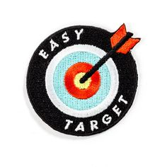 """Easy Target Patch // Bullseye Embroidered patch Iron-on adhesive backing Measures 2"""" tall x 2"""" wide 