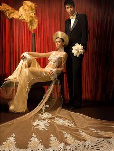 Ao Dai Heaven vietnam sheer gold ao dai with long train Vietnamese wedding dress Alexander McQueen Vietnamese Wedding Dress, Vietnamese Dress, Ao Dai Wedding, Wedding Gowns, Wedding Outfits, Wedding Bells, Traditional Wedding, Traditional Dresses, Lace Ao Dai
