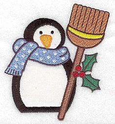 Penguin with broom applique | Applique Machine Embroidery Design or Pattern