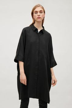 COS image 2 of Oversized shirt dress in Black