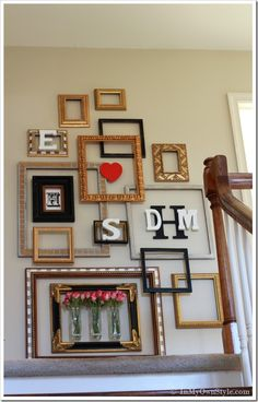 This is a cool idea! Picture Frame Gallery Wall With a Valentine Surprise   - 17 DIY Decorating Ideas With Frames