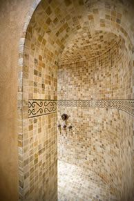 Doorless shower.. LOVE these types of showers!! I so badly want a unique shower in my house