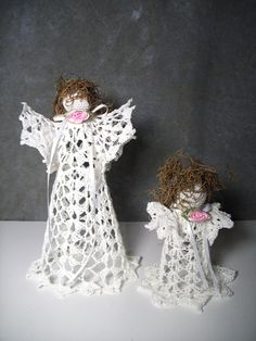Victorianstyle Set of  3 Crochet Angels  Made to by UniquelyEwe, $12.00