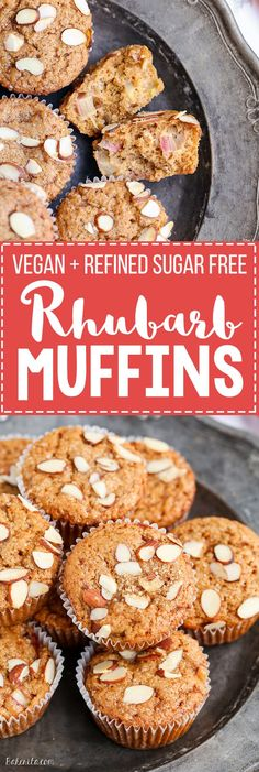 Take advantage of rhubarb's limited season with these Vegan Rhubarb Muffins! These fluffy muffins are refined sugar free and topped with crunchy sliced almonds.