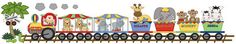 "Circus Animal Train Baby Nursery Wall Mural measures 16.5"" Tall and 85.5"" wide. Graphics by Scrappin Doodles."