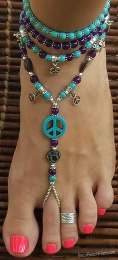 $45 ☮ The perfect companion to your favorite boho-chic outfit!! Visit  BecsBeachFeet.com  ✿ Foot Jewelry • Barefoot Sandals • Anklets • Bracelets