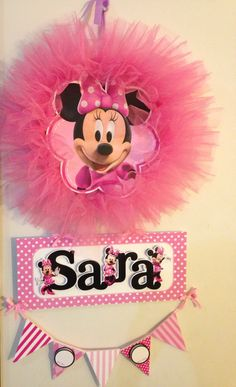 Colgante de puerta de maternidad de Minnie mouse en rosa y tul