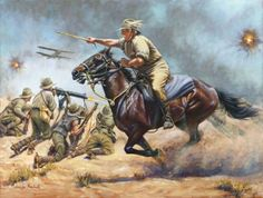 Oil Painting by equestrian artist jennifer Marshall, of Galloping Jack Royston at the battle of Romani encouraging the Light Horseman against the Turks. Giclee Prints available Military Diorama, Military Art, Military History, American Civil War, American History, British History, American Flag, Native American, Ww1 Art