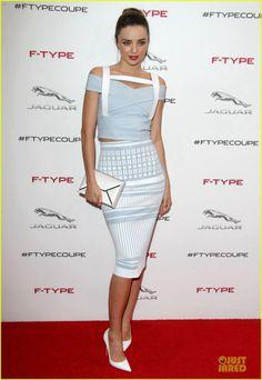 Miranda Kerr wearing Christian Louboutin Batignolles pumps in White Python Smythson Clutch David Koma Spring 2014 Dress