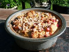 This rhubarb bread pudding is perfect for a comforting dessert, even if it's warm outside.