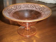 Cambridge Depression Glass Elegant Pink Etched Footed Compote