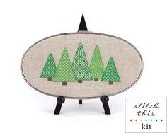 blackwork trees kit - on linen aida - cross stitch + embroidery - diy - modern