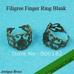 Filigree Ring Blank, Antique Brass Filigree Finger Ring Base, Glue on Adjustable Finger Ring Base-in Special Store from Jewelry on Aliexpress.com