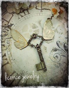 Antique Style STEAMPUNK  flying winged Skeleton by LicoriceJewelry