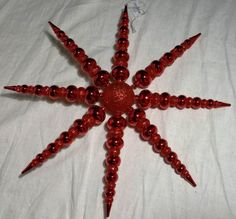 Red Plastic 14'' Star Glitter and Shiny Smooth by wasminenowyours