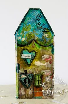 "Little Whimsical Houses - Eclectic Paperie!  Micki here to share my steps for turning plain wood into whimsical little houses.  The fun part of these houses was that I was able use some of those bits and pieces of gelli prints,  ""mop up excess paint"" papers, anything and everything that seems to multiply in my paper drawer.  But first, here is what the plain wood scraps looked like."