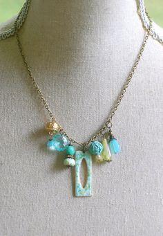 Sadie.vintage aqua green beaded charm necklace. by tiedupmemories, $32.00
