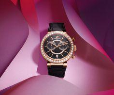 LOVE. Citra Sphere Chrono Black Rose Gold Tone Watch from #Swarovski