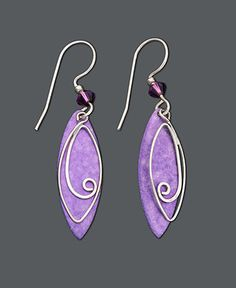 Jody Coyote Sterling Silver Earrings, Purple Leaf Drop Earrings - Earrings - Jewelry & Watches - Macy's