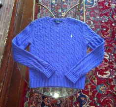 Ralph Lauren Purple/Blue Size Womens Medium Cable Knit Sweater Crewneck M 6 8 #RalphLauren #Crewneck #cableknitsweater