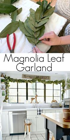 DIY Magnolia Leaf Garland for your holiday home. How to make a beautiful but easy DIY magnolia leaf garland, with fresh magnolia leaves, for your home for the Christmas holiday. Magnolia Leaf Garland, Fall Leaf Garland, Magnolia Leaves, Grapevine Garland, Noel Christmas, Rustic Christmas, Christmas Crafts, Christmas Decorations, Christmas Music