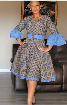 Blue puff sleeves vintage flare polka dot african print ankara plus size women dress, wedding dress, ankara gown, prom dress Yellow and green puff sleeves vintage flare polka dot african African Fashion Skirts, African Inspired Fashion, African Dresses For Women, African Print Dresses, African Print Fashion, African Attire, African Wear, African Traditional Dresses, Kitenge