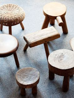 stools from olive wood