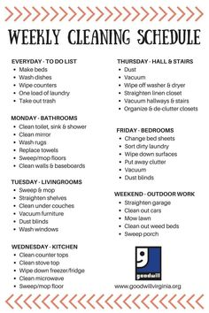 Goodwill has made cleaning your home easy with our weekly cleaning schedule! #homecleaningschedule