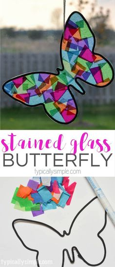 A fun spring craft to make with the kids! Using tissue paper and black construction paper, this butterfly looks like it's made from stained glass. #artsandcrafts