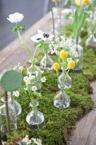 Moss table runner with trailing bud vases Summer Table Decorations, Decoration Table, Wedding Centerpieces, Wedding Table, Wedding Decorations, Moss Centerpieces, Wedding Ideas, Centerpiece Ideas, Bud Vases