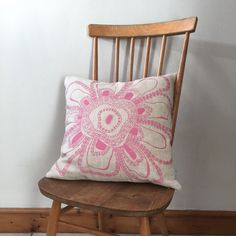 Screen printed and handmade flower cushion Textile Prints, Textiles, Screenprinting, Handmade Flowers, Cushions, Throw Pillows, Printed, Design, Screen Printing