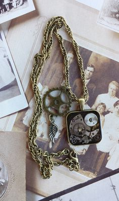 Steampunk Necklace with Vintage Watch Parts by TrinketsThroughTime on Etsy