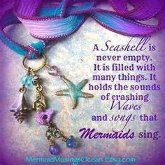 A seashell is never empty. It is filled with many things. It holds the sounds of crashing waves and songs that mermaids sing. Mermaid Bathroom, Mermaid Room, Mermaid Beach, Unicorns And Mermaids, Real Mermaids, Mermaids And Mermen, Mermaid Fairy, Mermaid Tale, Mermaid Quotes