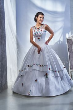 Bridal dress decorated with colorful handmade Kalocsa embroidery. Stunning Dresses, Elegant Dresses, Cute Dresses, Wedding Reception Gowns, Dream Wedding Dresses, Quinceanera Dresses, Homecoming Dresses, Wedding Dress Patterns, Fairytale Dress