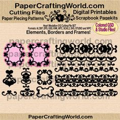 SVG, WPC, GSD, MTC, KNK, SCAL2, STUDIO AND MORE. http://www.papercraftingworld.com/item_1134/Heart-Medallion-012-Set-B-w-Borders-Frames.htm