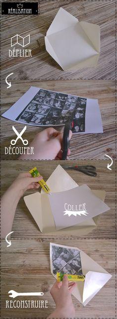 Idée pour enveloppe faire-part mariage ? Enveloppe personnalisée avec photos ou liberty