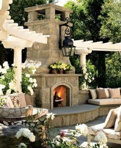 Balkon mit Naturstein gestalten garten einbaukamin sitzecke