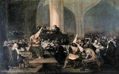 The Inquisition Tribunal. Goya. 1812-1819. Oil on panel.  46 x 73 cm. Museo de la Real Academia de San Fernando. Madrid.