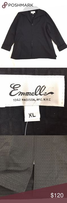 "EMMELLE BLACK EVENING JACKET SIZE XL EMMELLE A WELL KNOWN DESIGNER IN NEW YORK!  SIZE XL, WORN A COUPLE OF TIMES  EXCELLENT CONDITION!!! NO STAINS OR RIPS  A TEXTURED PATTERN OF BOXES, BLACK COLOR  ZIPPER IN THE MIDDLE OF THE JACKET  29"" LENGTH, 48"" BUST, 23"" SLEEVE  GREAT ADDITION FOR A OUTFIT FOR BUSINESS OR NIGHT OUT!!  SMOKE-FREE-HOME Emmelle Jackets & Coats"