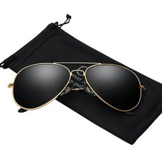 Mens Aviator Sunglasses Polarized Metal Frame Black Sun Glasses