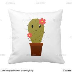 Cute baby girl cactus throw pillow